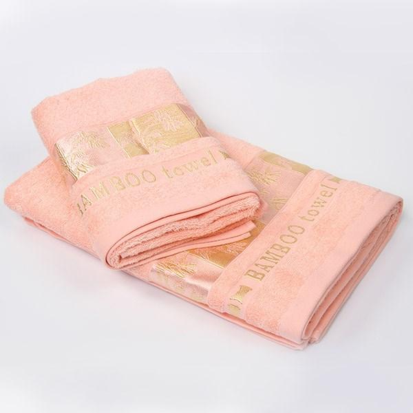 Bambusový ručník Gold lososový